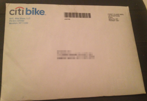 envelope containing the citibike welcome letter