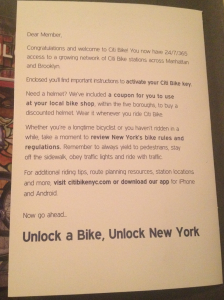 citibike welcome letter