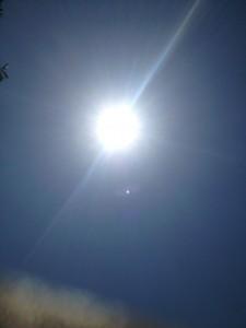 blaring sun