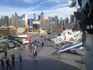 flight deck of intrepid on beautiful day