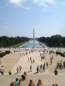 view of the reflecting pool from the lincoln memorial