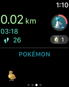 main screen of pokemon go app for apple watch
